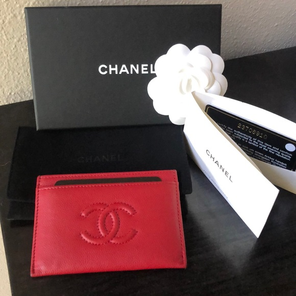78803944b58905 CHANEL Bags | Timeless Lipstick Red Grained Calfskin Card Holder ...